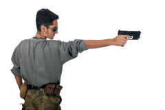 Man in camouflage with gun. Stock Photos
