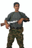 Man in camouflage with gun. stock images