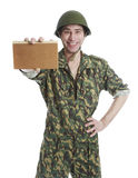 Man in camouflage and helmets Royalty Free Stock Photos