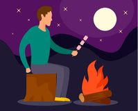 Man at camp fire in night background, flat style stock illustration