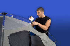 Man camping Royalty Free Stock Photography
