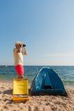 Man camping at the beach Stock Photos