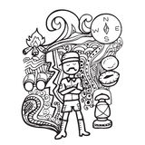 Man camping doodle Royalty Free Stock Image