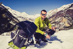 Man camping and hiking in Himalaya Mountain pass in Nepal Royalty Free Stock Photo