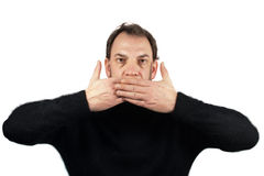 Man can not talk and have to be shut Stock Images