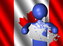 Man with Canada map on flag Royalty Free Stock Photos