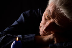 Man and candle royalty free stock photo