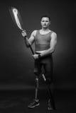 Man canoe kayak paddle, athlete sportsman, prosthetic leg, disab. One young adult man only, canoe kayak paddle, athlete sportsman, prosthetic leg, disabled Stock Image
