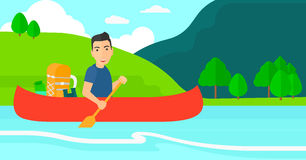 Man canoeing on the river. Royalty Free Stock Images