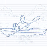 Man canoeing on the river. Royalty Free Stock Photography