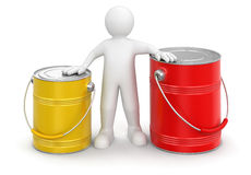 Man and Cans of paint (clipping path included) Stock Image