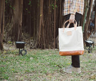 Man with canvas bag Stock Photography