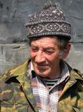 Man with Cap. A portrait close up old men with stocking cap on his head.  Primorsky Region, village Kievka Stock Photo