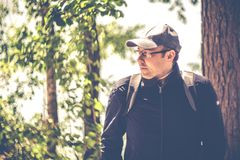 Man portrait outdoors forest stock images