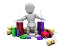 Man with Capacitors Resistors and semi-conductors. 3D Render of a Man With Capacitors Resistors and semi-conductors Royalty Free Stock Images