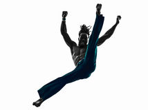 Man capoeira dancer dancing silhouette Royalty Free Stock Image