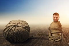 Man in captivity of threads Stock Photos