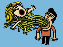 Man captures woman. Man captures a screaming woman with the tentacles that go out of his mouth Stock Photo