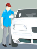 Man and car. Illustration of a male standing near car Stock Photos