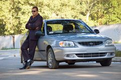 The man and the car royalty free stock photos