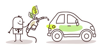 Man with car and bio-fuel. Vector stock illustration