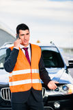 Man with car breakdown calling towing company Royalty Free Stock Photo