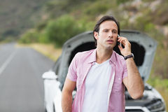 Man after a car breakdown Royalty Free Stock Image