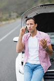Man after a car breakdown Royalty Free Stock Photography