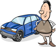 Man and car cartoon illustration Stock Photo
