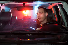 Man in car caught by police Royalty Free Stock Photography