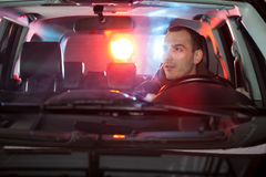 Man in car caught by police Stock Photos