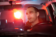 Man in car caught by police Stock Image