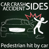 Man and Car crash Side collision by chalk Stock Image