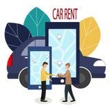 Man and car dealer. Making deals online. Car rent. Vector illustration in flat style. The dealer hands over the keys to vector illustration
