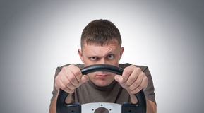 Man car driver with wheel. On background royalty free stock images