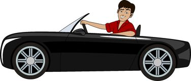 A man in a car. A handsome man in a luxury car Royalty Free Stock Image