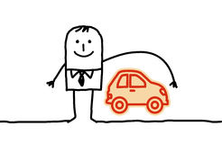 Man & car insurance. Hand drawn cartoon characters - man & car insurance