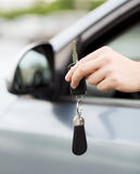Man with car key outside Royalty Free Stock Photo