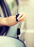 Man with car key outside Stock Image