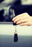 Man with car key outside Royalty Free Stock Photography