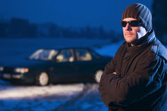 Man with car in the night Stock Image