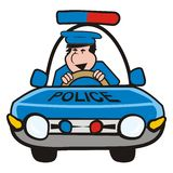 Man in the car-police. Cop goes in a blue police car Royalty Free Stock Photography