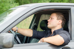 Man in the car. Stock Image
