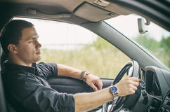 Man in the car. Royalty Free Stock Photo