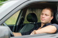 Man in the car. Royalty Free Stock Photos