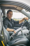 Man in the car. Stock Photo