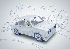 Man in car. Young man driving car made of sheet of paper Royalty Free Stock Photos