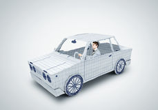 Man in car. Young man driving car made of sheet of paper Stock Photography