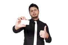 Man and card Royalty Free Stock Photo