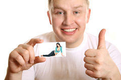 Man with card of girl and thumb up, collage Royalty Free Stock Image